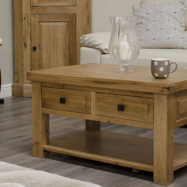 Elegance Oak 3ft x 2ft Coffee Table With Shelf And Drawers