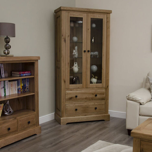 Elegance Oak Glass Display Cabinet