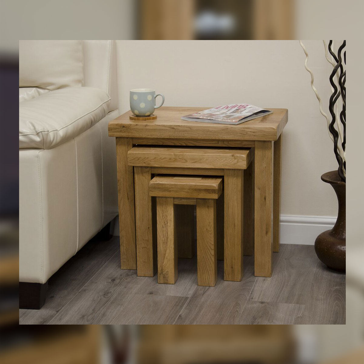 Elegance Oak Nest Of Tables
