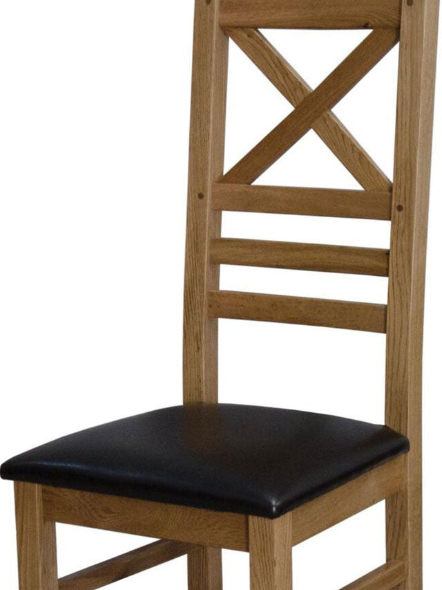 Elegance Oak Cross Back Chair Available In Natural Oak Or A Painted Finish