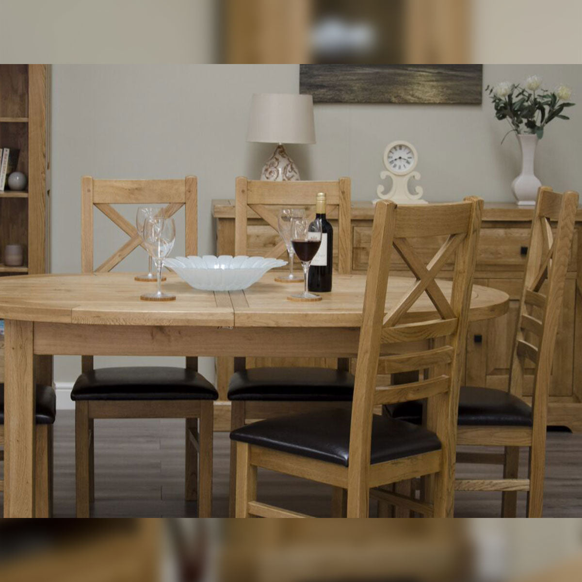 Elegance Oak Extending Oval Dining Table 1670mm + (2x400mm)