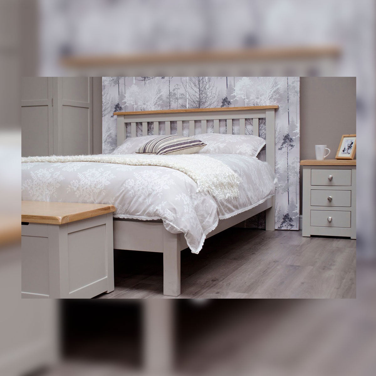 CINZA 4'6 GREY DOUBLE BED