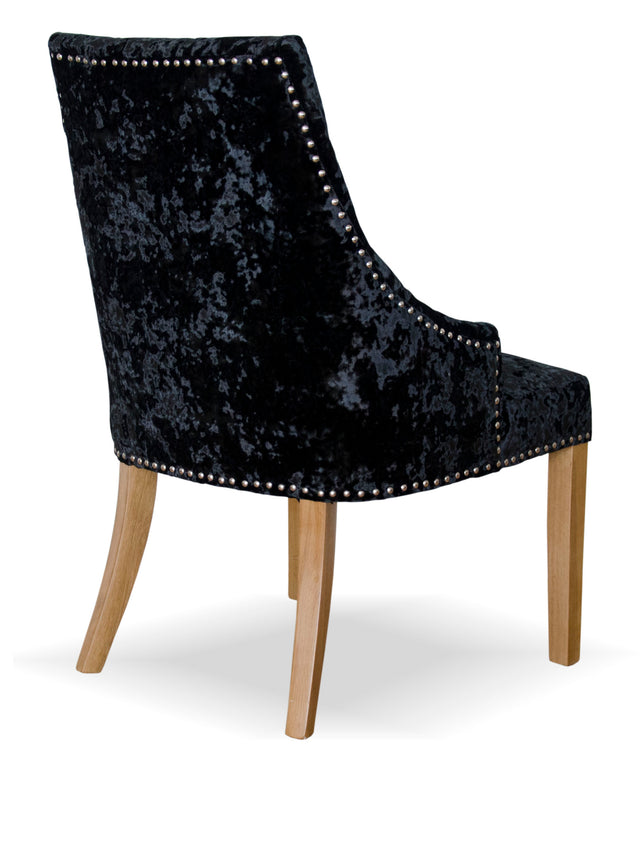 Berg Dining Chair Crushed Black Velvet Oak Legs