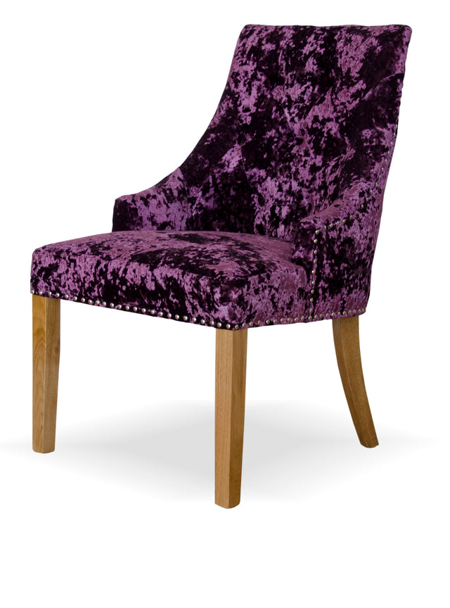 Berg Dining Chair Purple Crushed Velvet Solid Oak Legs