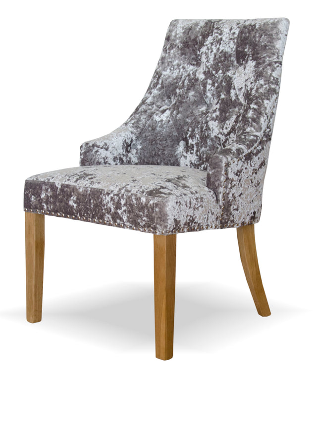 Berg Dining Chair In Crushed Silver Upholstery And Oak Legs