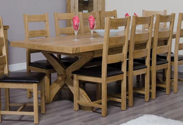 Deluxe Oak Dining Set - 200cm-280cm Rectangular Extending with 10 Chairs