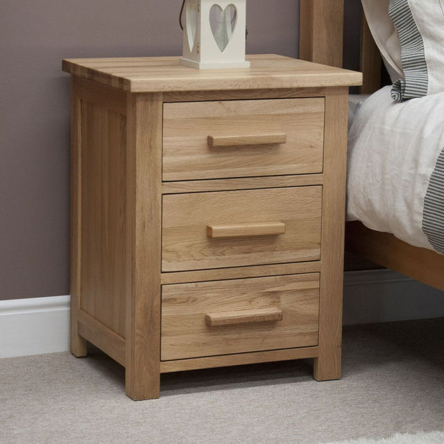 Florence Oak 3 Drawer Bedside