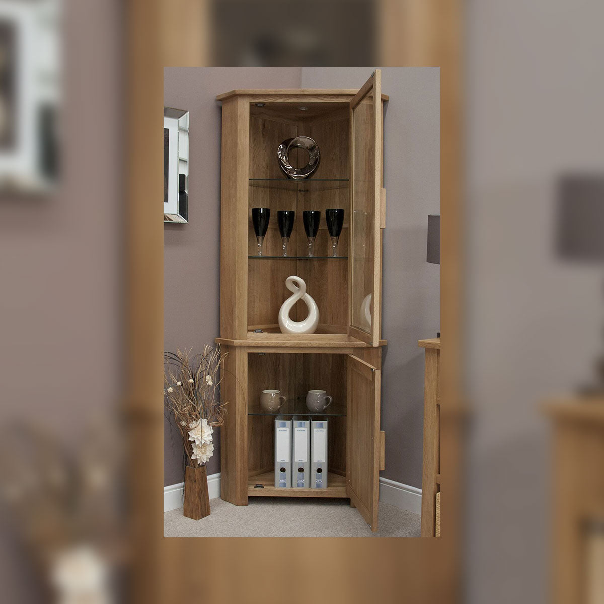 Florence Oak Corner Display Unit