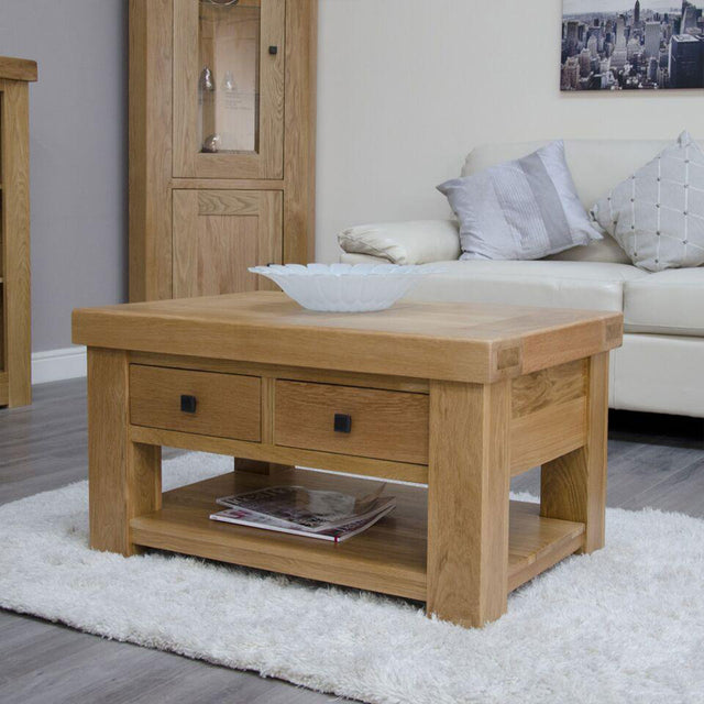 Grande Oak 3x2 Coffee Table With Shelf