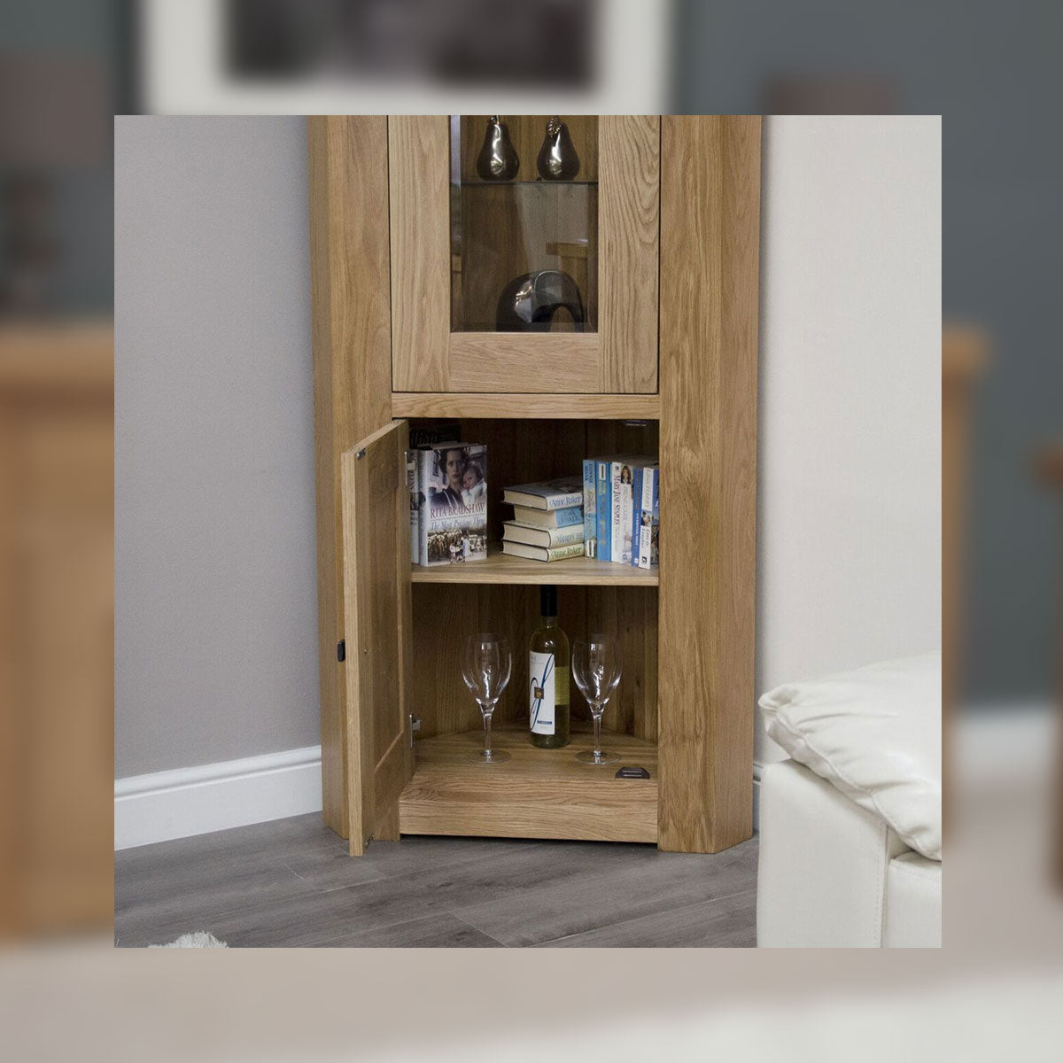 Grande Oak Corner Display Cabinet