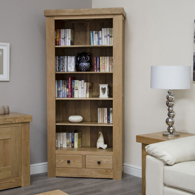 Grande Oak Bookcase With Drawers