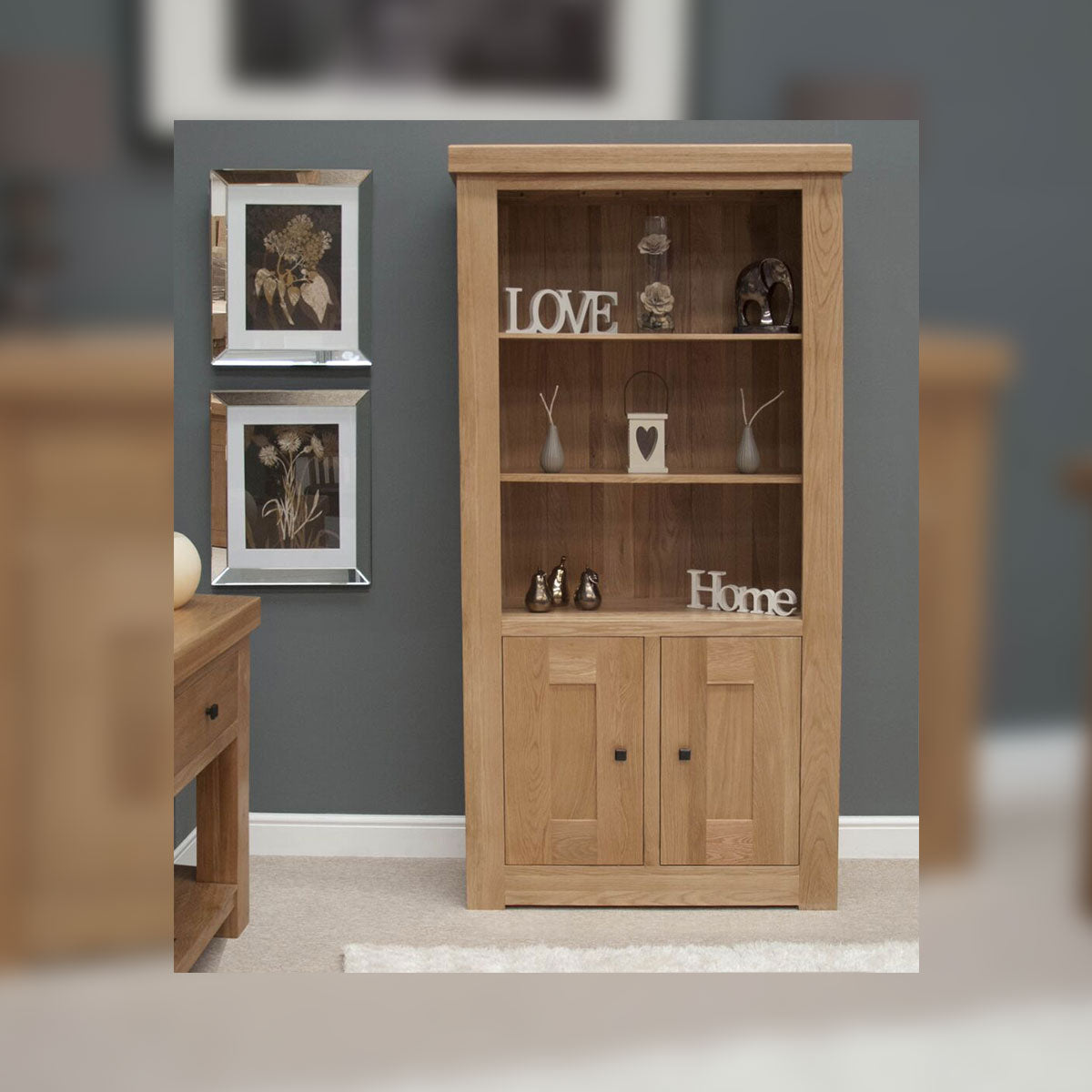 Grande Oak 2 Door Bookcase