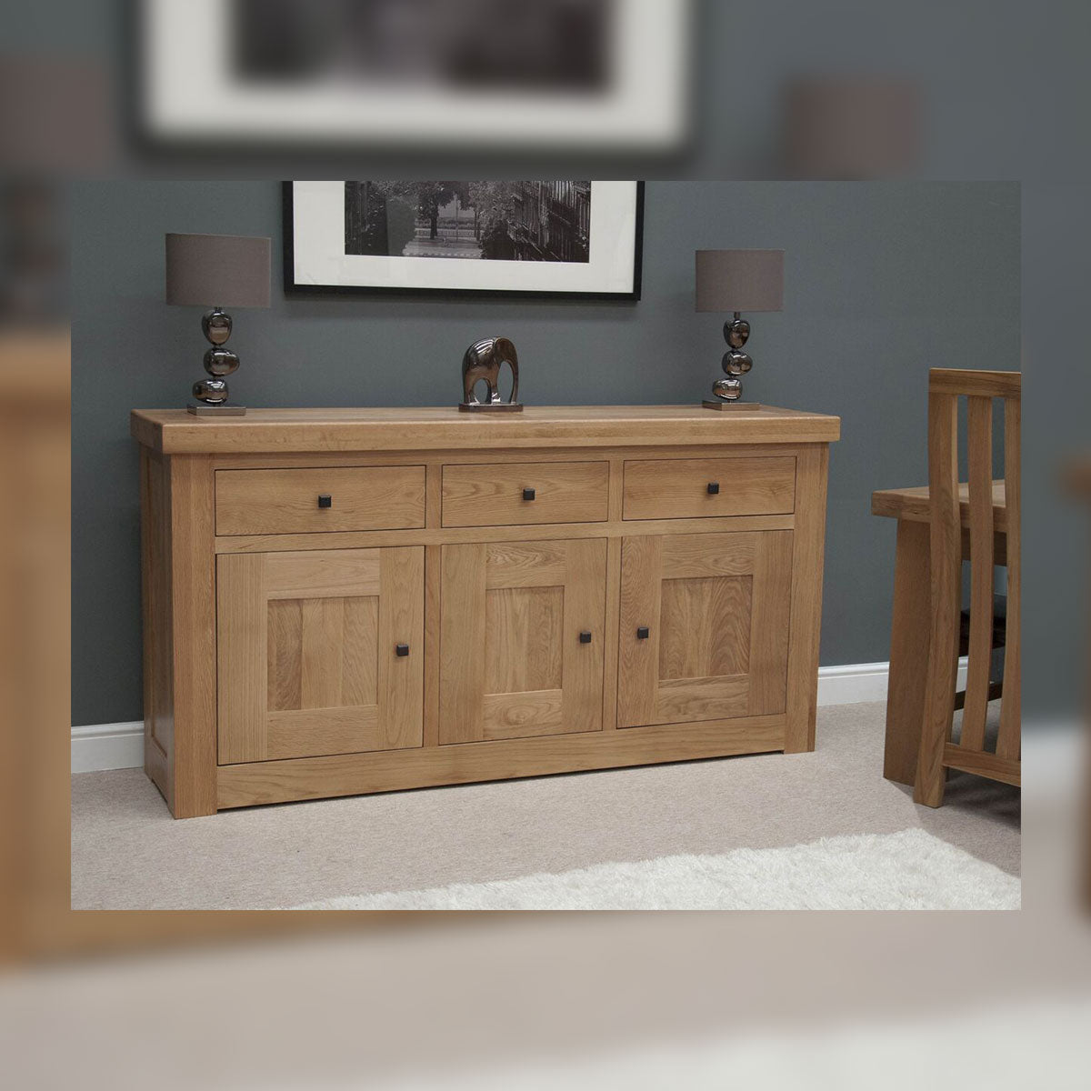 Grande Oak 3 Drawer Sideboard