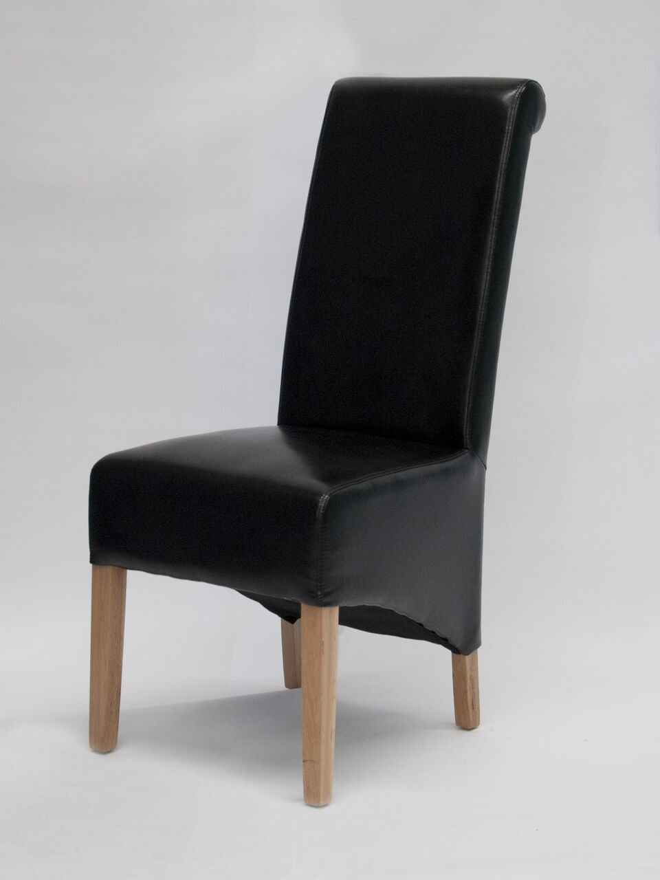 Richmond Black Leather Wave Back Chair