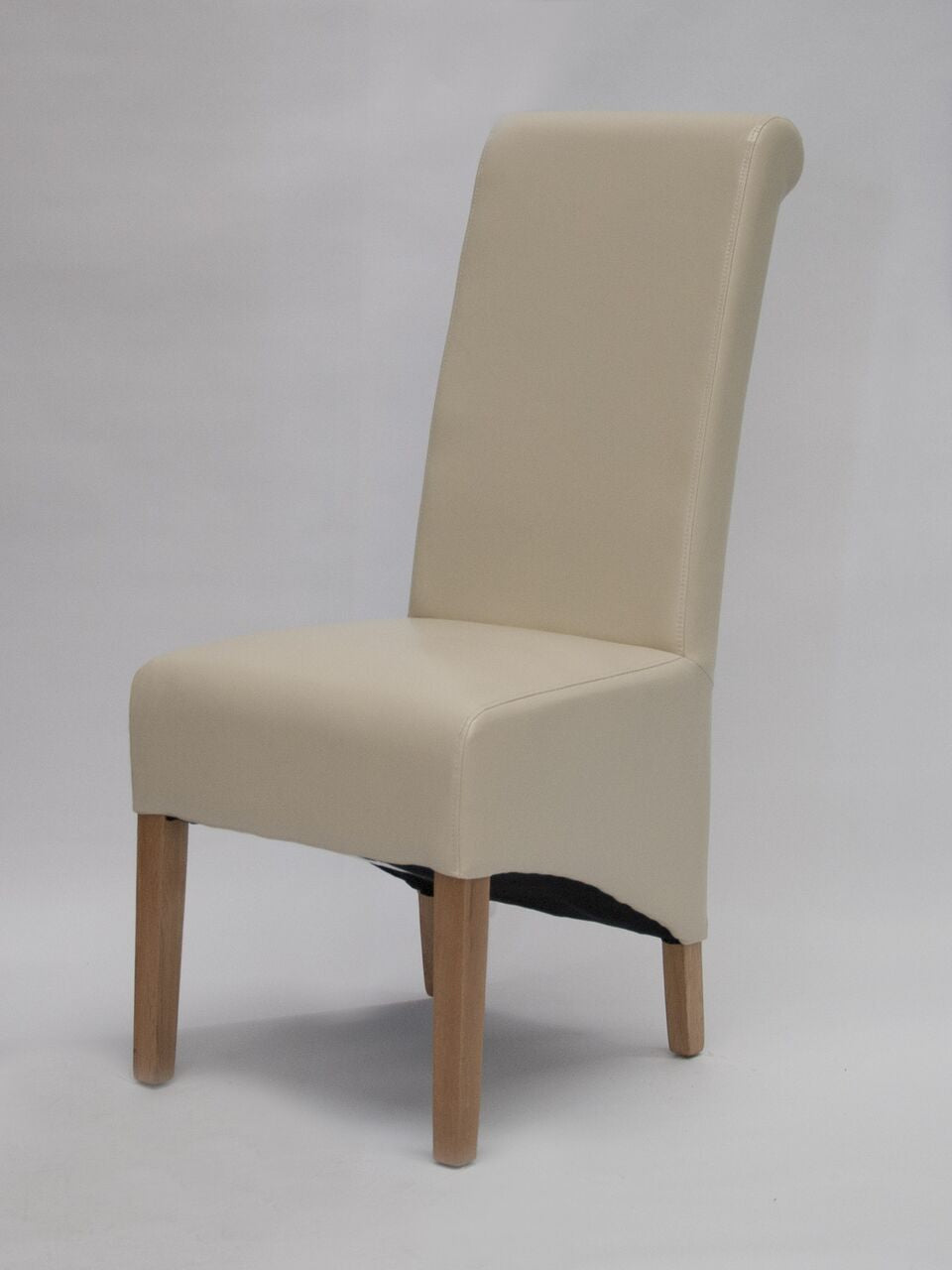 Richmond Ivory Leather Wave Back Chair