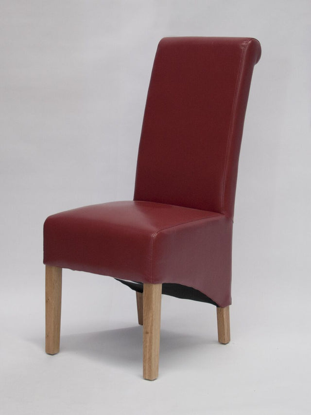 Richmond Red Leather Wave Back Chair