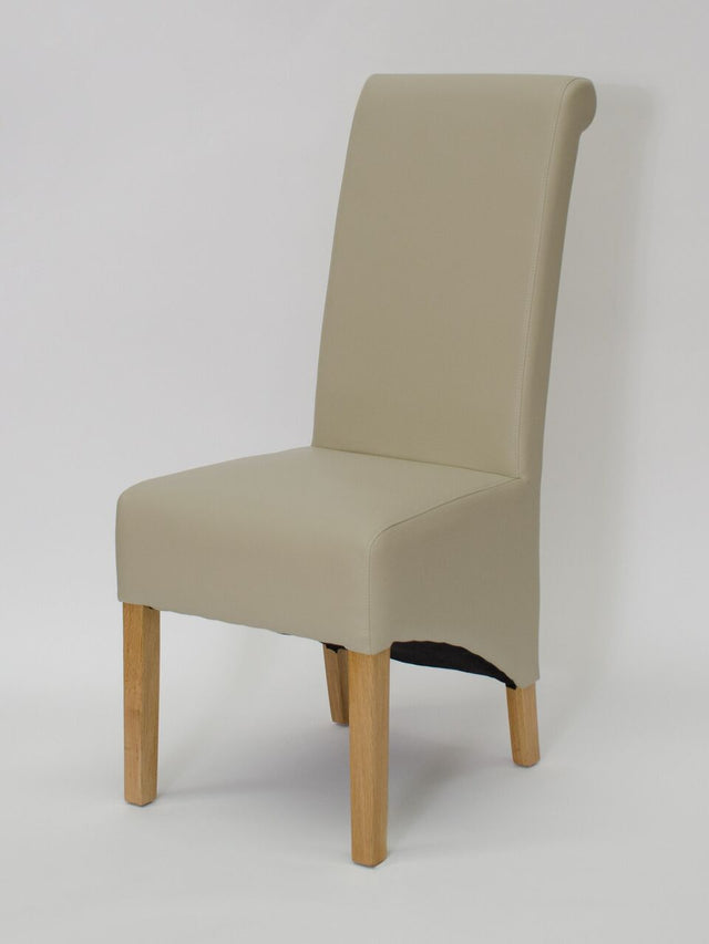 Richmond Matt Leather Bone Wave Back Chair