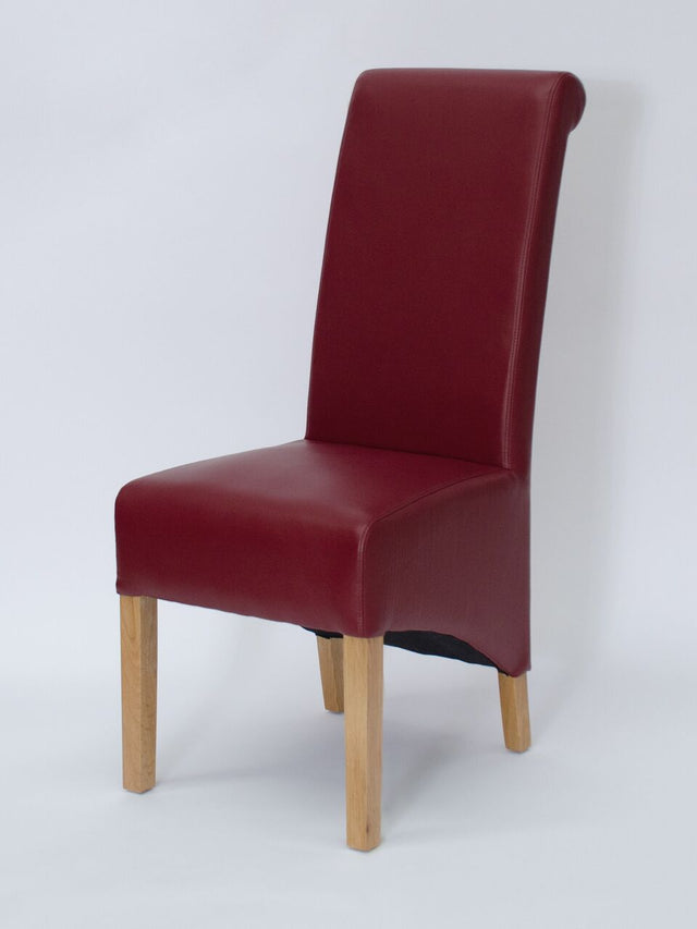 Richmond Ruby Leather Wave Back Chair