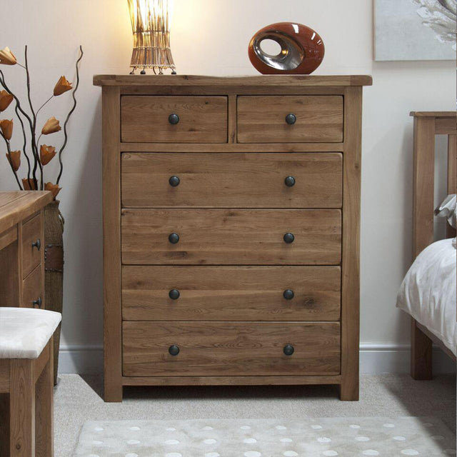 Rustic Oak 2 Over 4 Chest Of Drawers