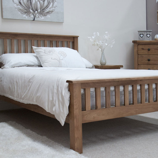 Rustic Oak King Size Bed
