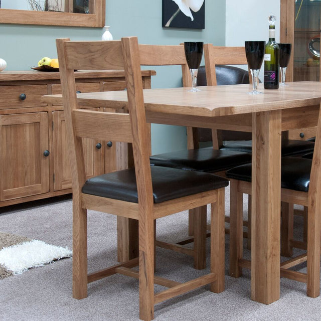 Rustic Oak Dining Chair With Black Leather Seat Pad