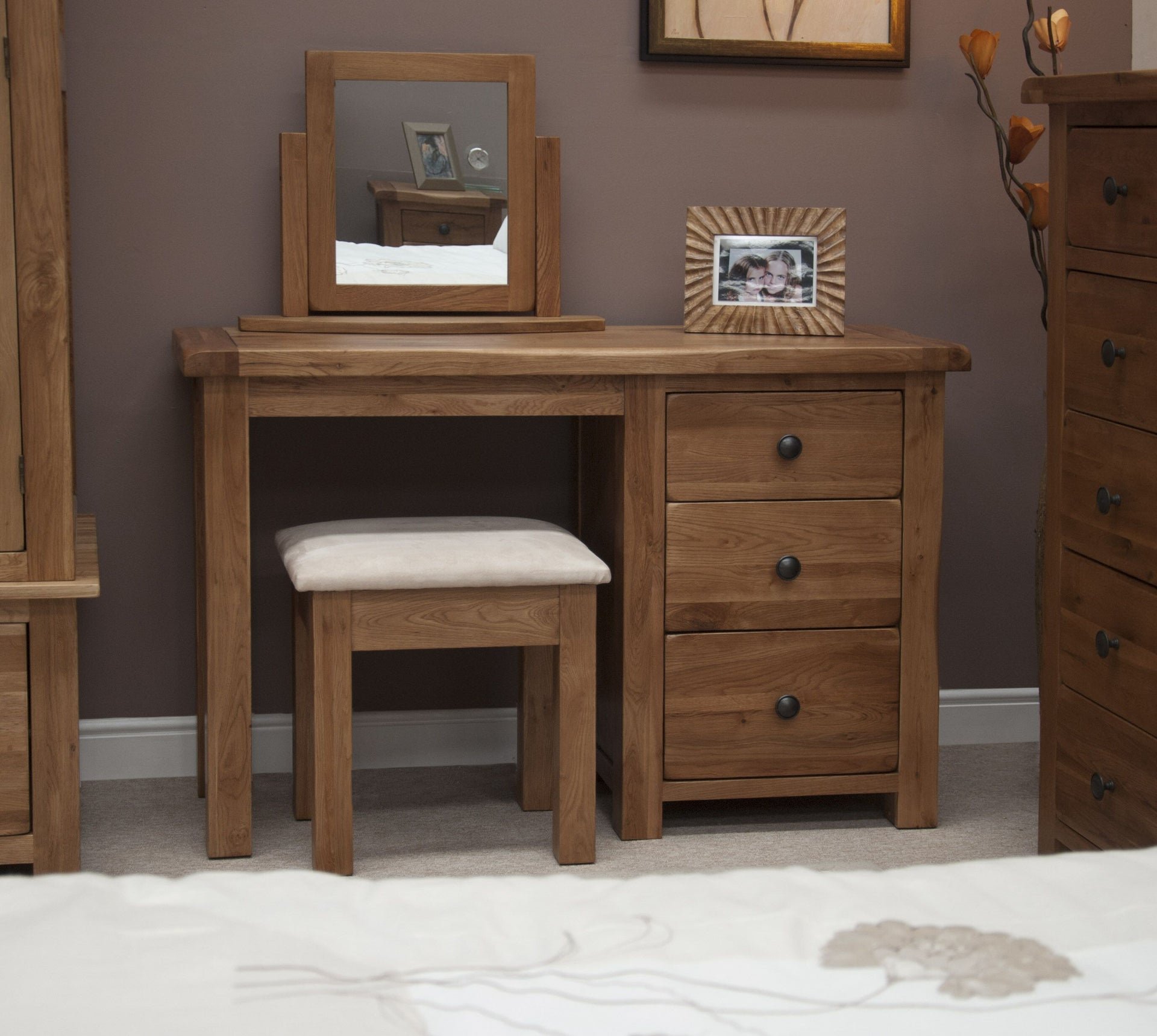 Rustic Oak Dressing Table And Stool