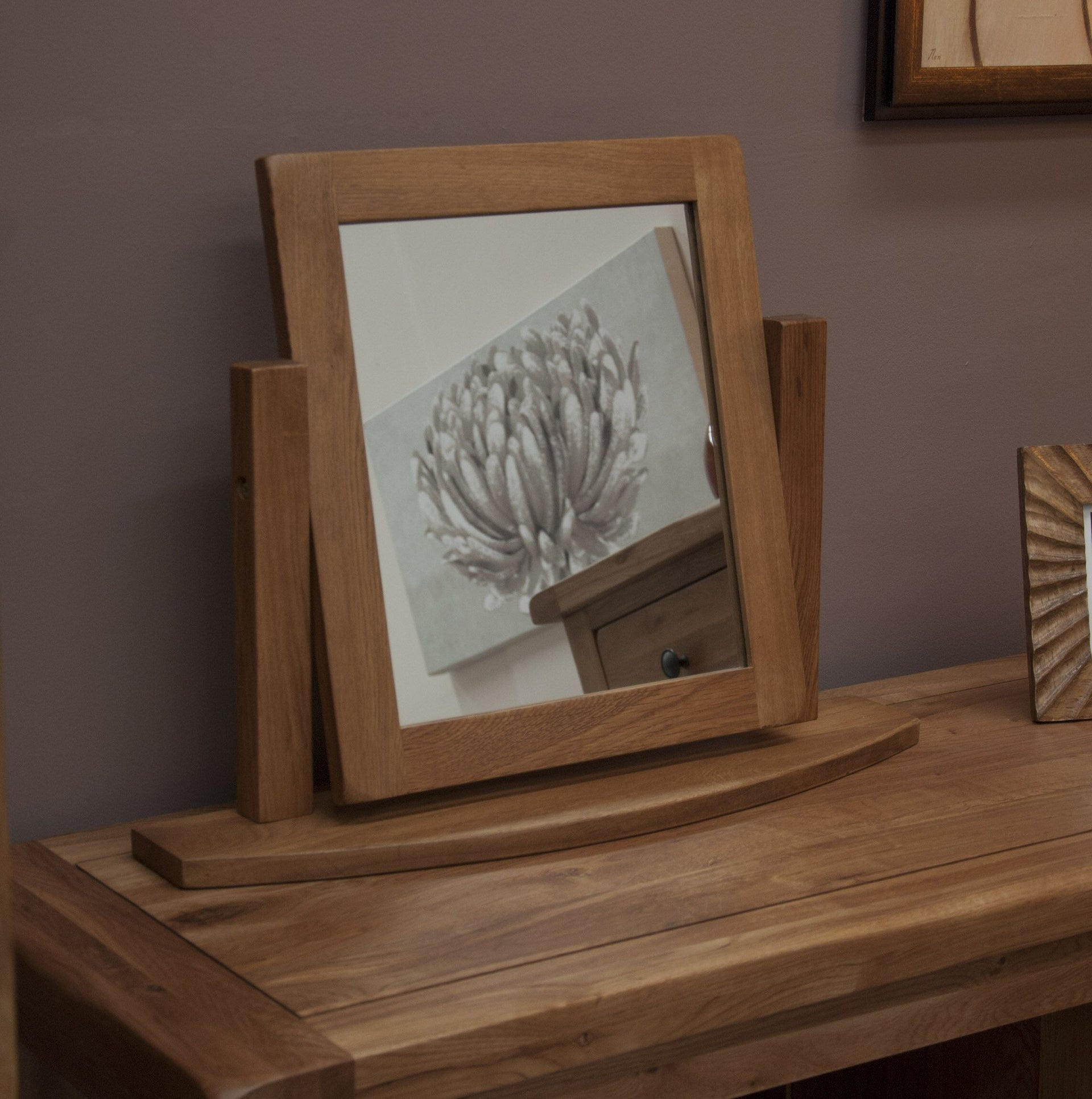 Rustic Oak Dressing Table Mirror