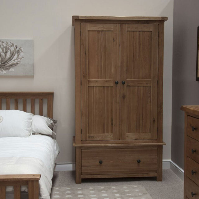 Rustic Oak One Deep Drawer Wardrobe