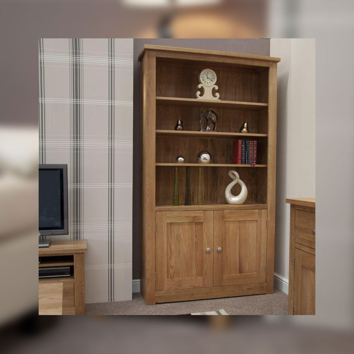 Valencia Deluxe Oak 2 Door Bookcase