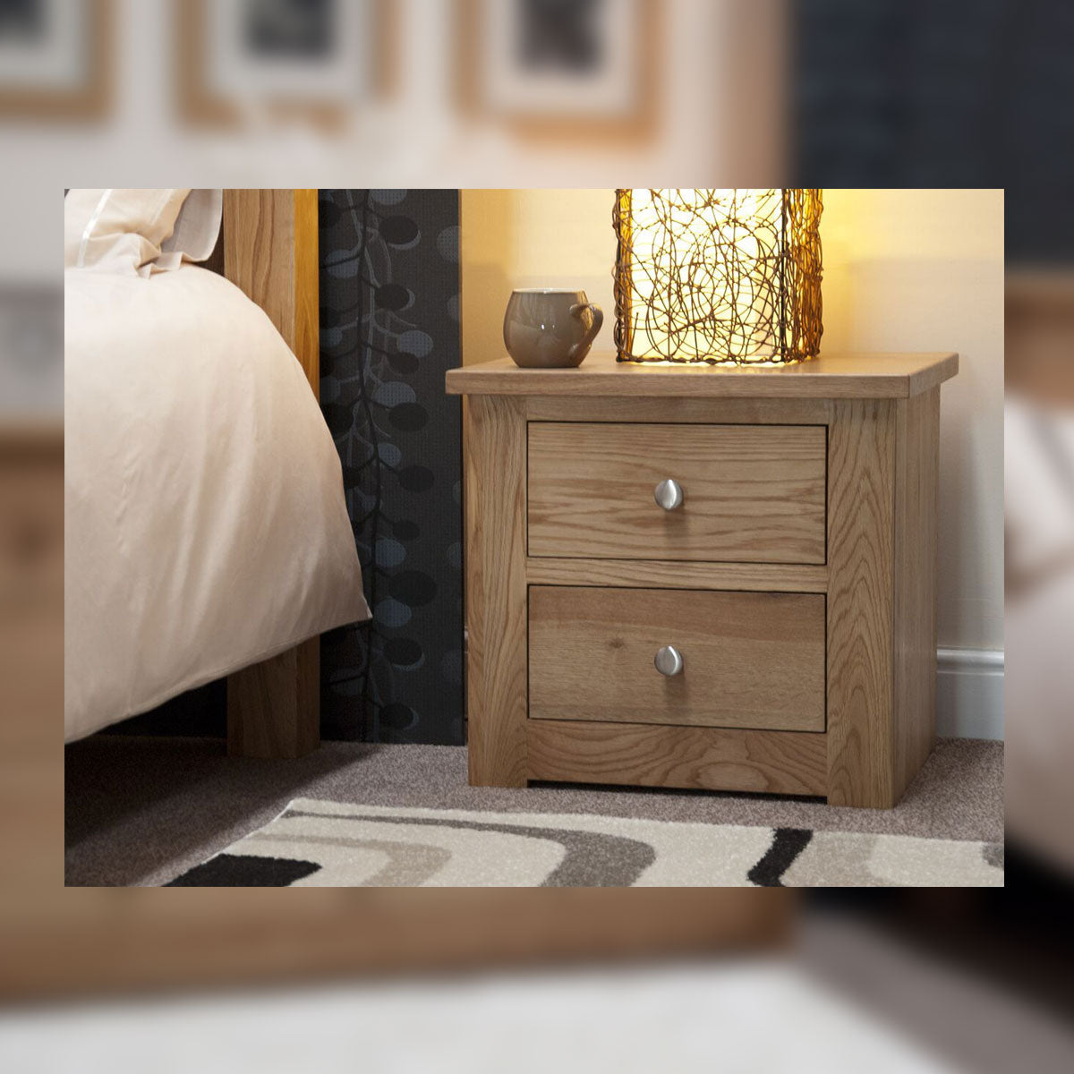Valencia Deluxe Oak 2 Drawer Bedside