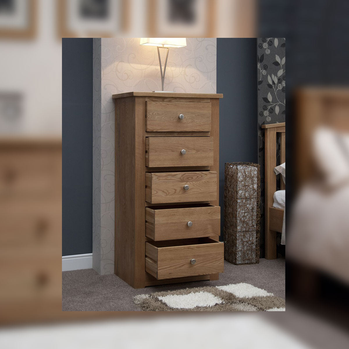 Valencia Deluxe Oak 5 Drawer Narrow Chest
