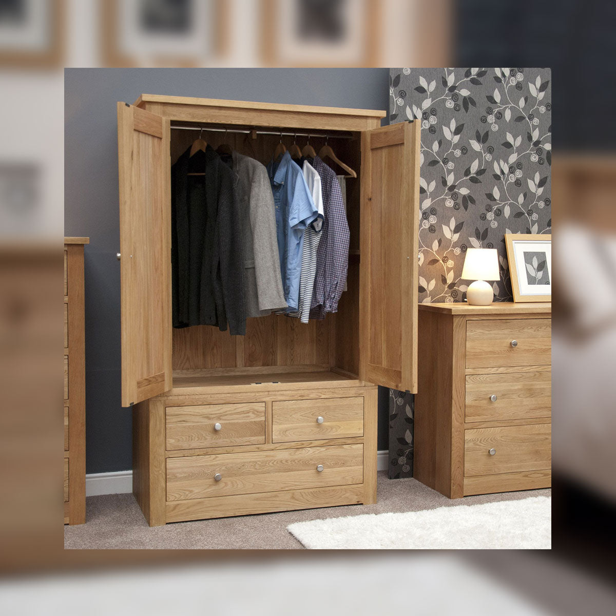 Valencia Deluxe Oak 4 Drawer Wardrobe