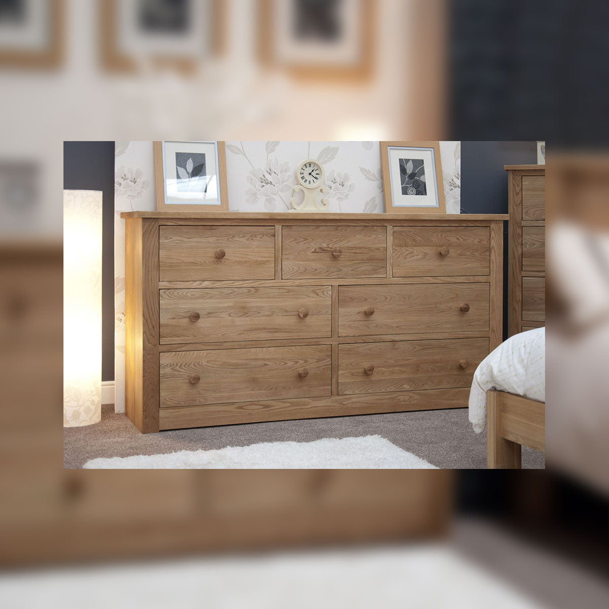 Valencia Deluxe Oak Extra Deep/Wide 7 Drawer Chest
