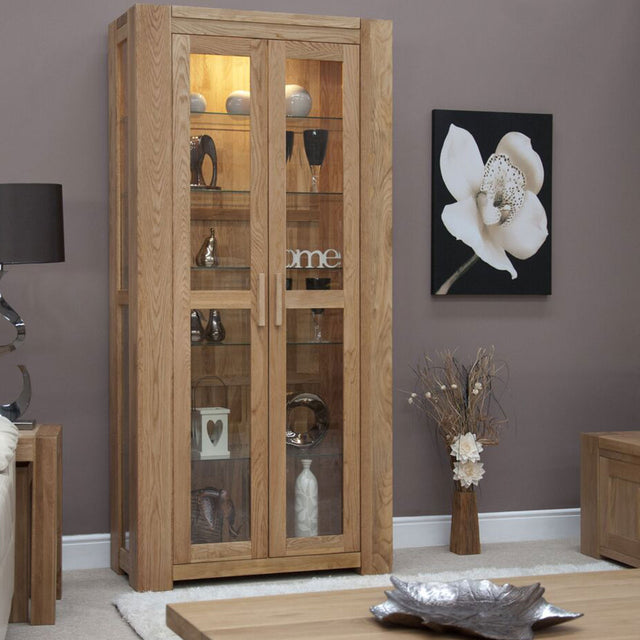 Barcelona Oak Glass Display Cabinet