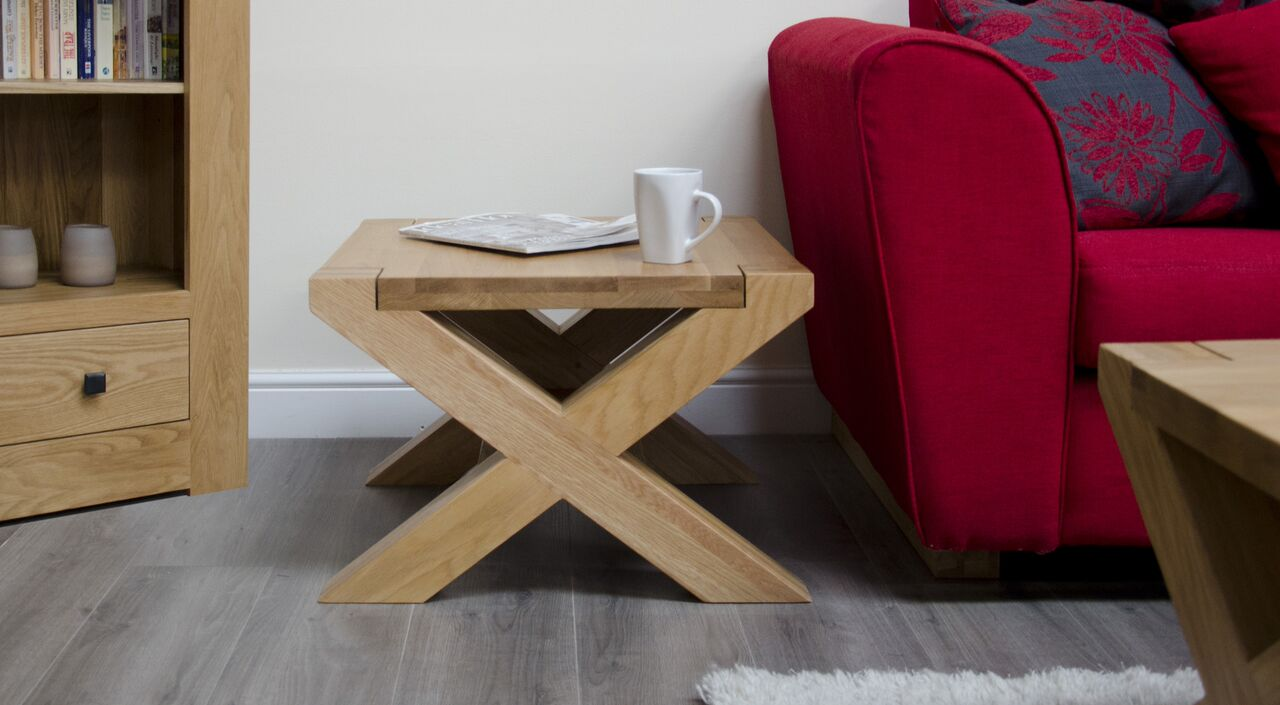 Barcelona Oak X Leg 2x2 Coffee Table