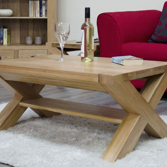 Barcelona Oak 3X2 Coffee Table X Leg