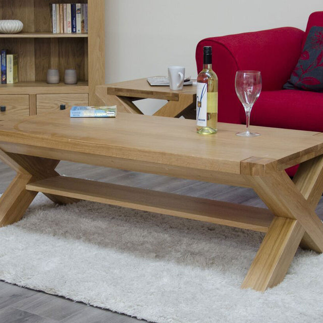Barcelona Oak 4x 2 X Leg Coffee Table