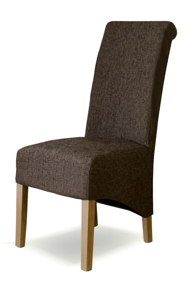 Tweed Dark Fabric Wave Back Chair
