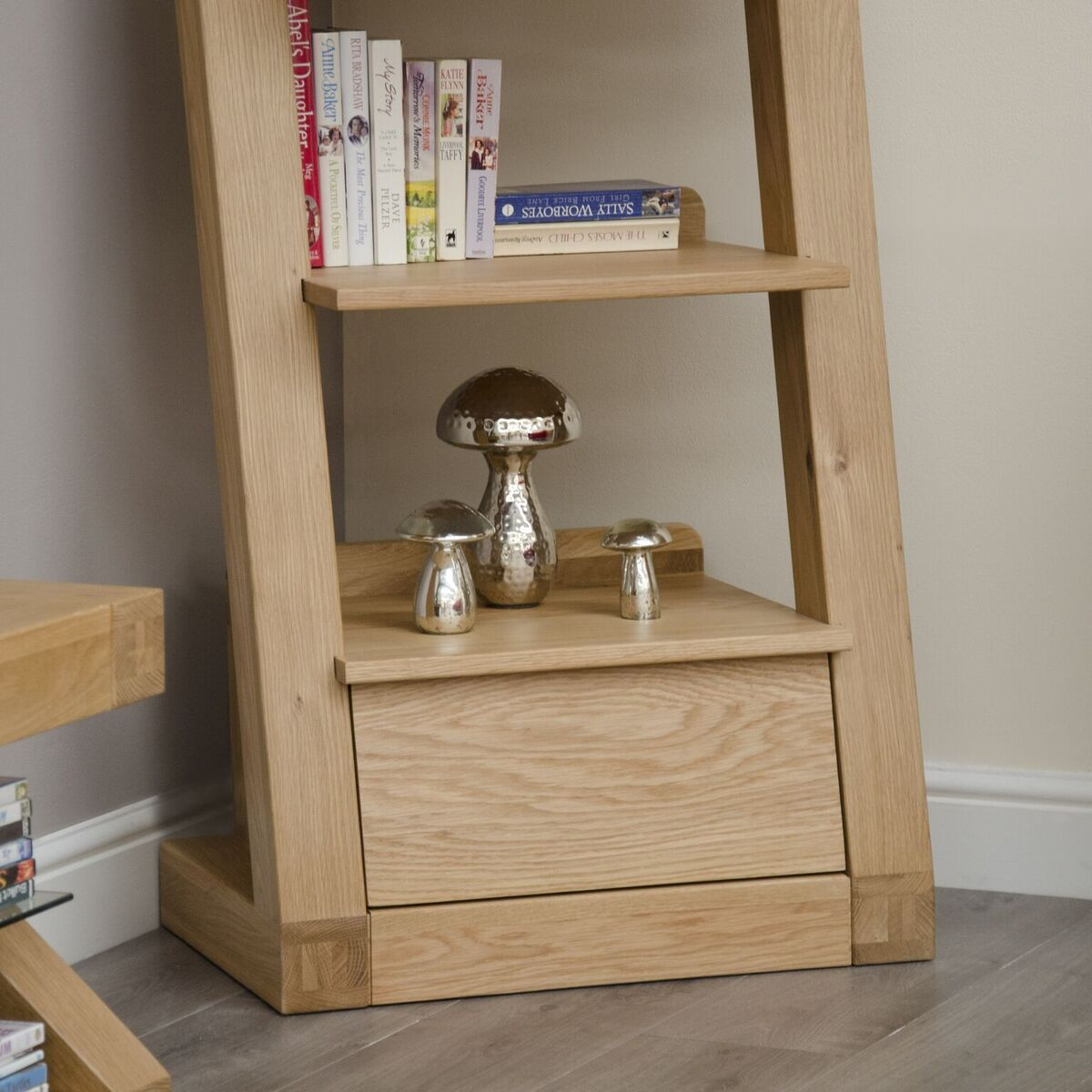 Zenith Oak Narrow Bookcase With Drawer