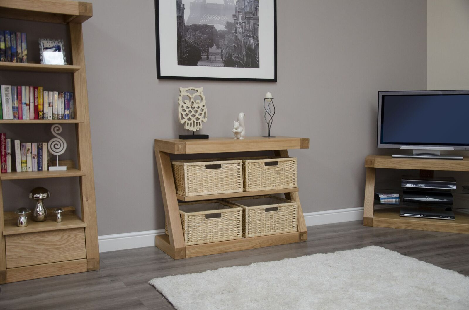 Zenith Oak 4 Basket Console Table