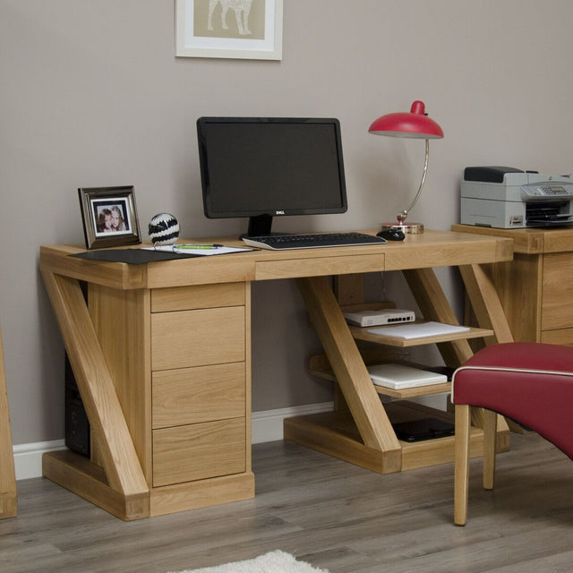 Zenith Oak Large Computer Desk