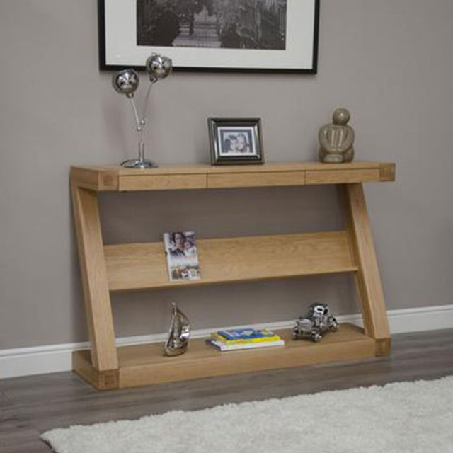Zenith Oak Wide Console With Shelf