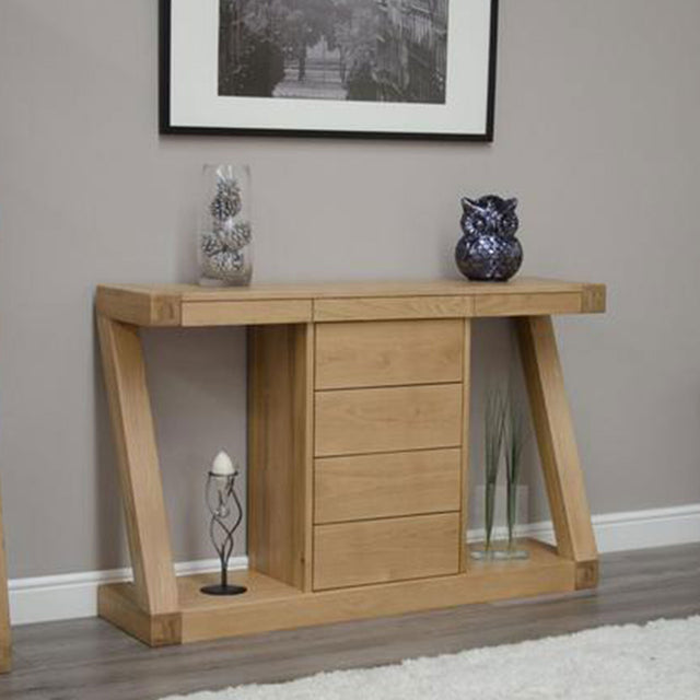 Zenith Oak Wide Console With Drawers