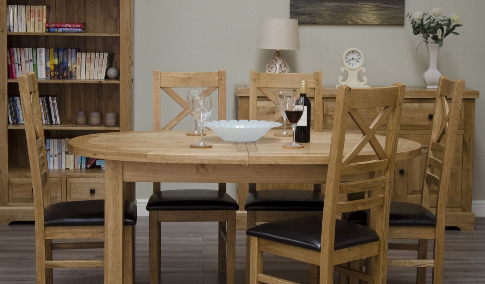Deluxe Oak Dining Set - 167cm-247cm Oval Extending with 6 Cross Back Chairs