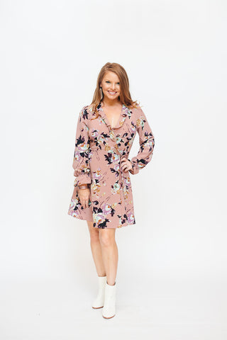 Mauve Floral Long Sleeve Wrap Dress
