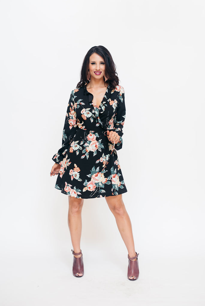b94f1cc34555 Black Floral Long Sleeve Wrap Dress – Brandi Land