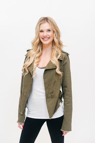 Olive Frayed Utility Jacket
