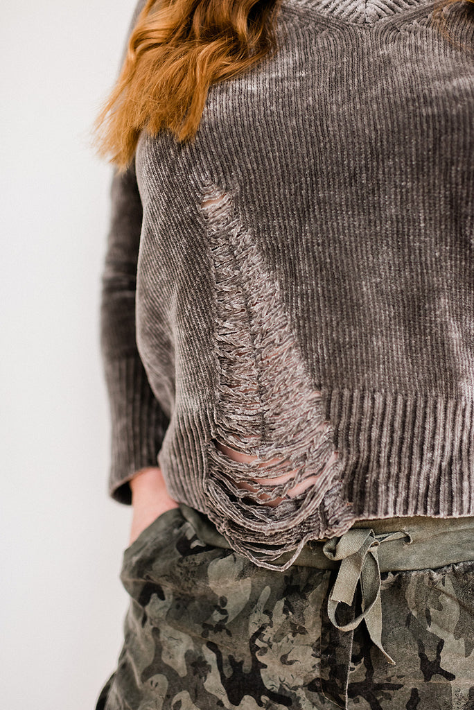 Distressed Chenille V Neck Sweater Top