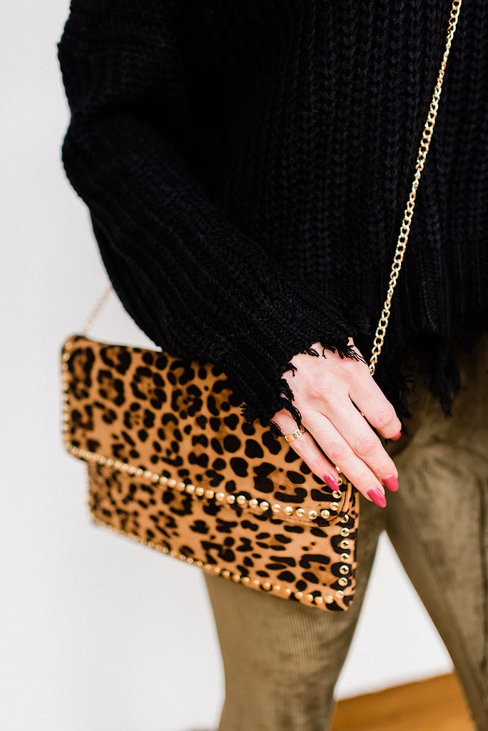 High Class Stud Faux Suede Leopard Clutch