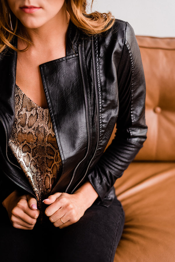 Soft Suede Double Closure Leather Jacket